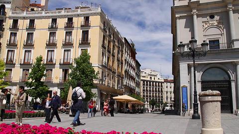 European Square 01 Madrid Stock Video Footage