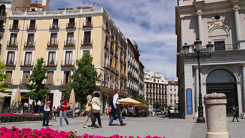 European Square 01 Madrid Stock Video Footage