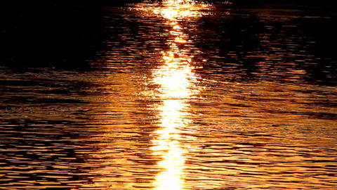 Sunset Reflections on River Stock Video Footage