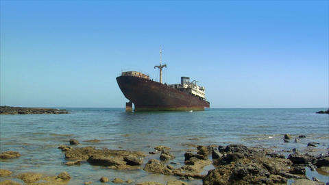 abandoned shipwreck Stock Video Footage