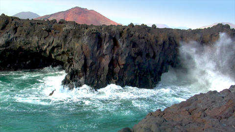 los hervideros vulcan lava cave wave close Stock Video Footage
