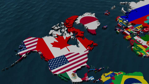 3D Wide Flag World Map Zoom to USA Stock Video Footage