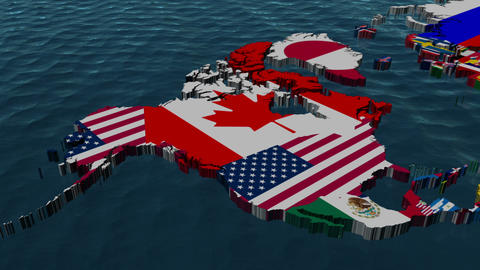 3D Wide Flag World Map Zoom to USA Animation