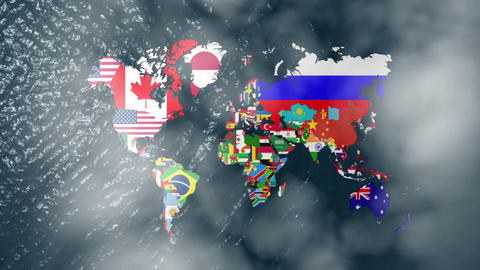 3D Flag World Map Zoom to USA with Clouds Stock Video Footage