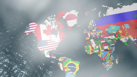 3D Flag World Map Zoom to USA with Clouds Animation