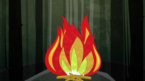 Camp Fire Night Loop HD Animation