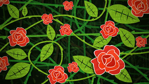 Red Rose Bush Loop HD Animation