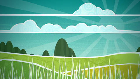 Sunny Countryside Scene Loop HD Animation