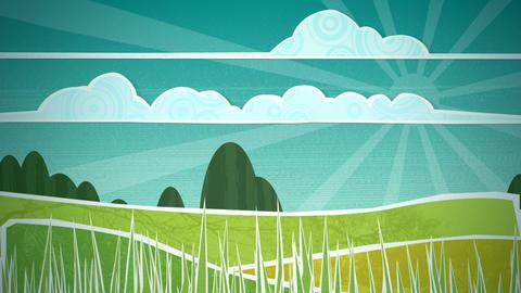 Sunny Countryside Scene Loop HD Stock Video Footage