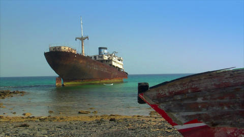 old shipwrecks on ground Stock Video Footage