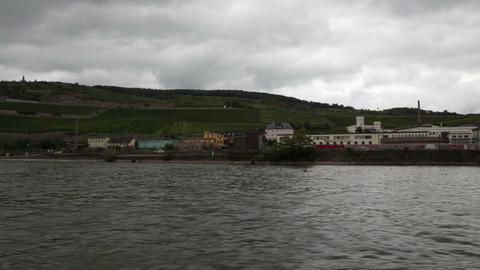 Traveling by cruise ship on a Rhine river 1 Stock Video Footage