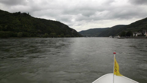 Traveling by cruise ship on a Rhine river 3 Stock Video Footage
