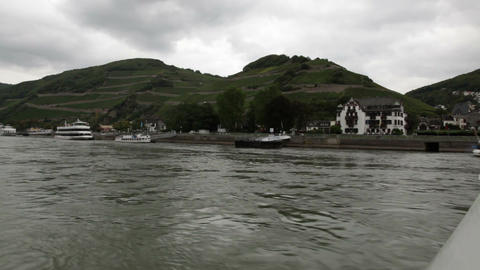 Traveling by cruise ship on a Rhine river 5 Stock Video Footage