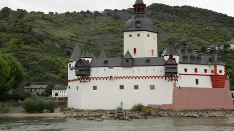 Castle on the island of the Rhine river Stock Video Footage