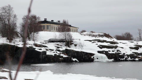 Fortress on a rock island in winter Live Action