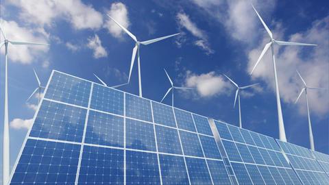 Solar Panel Wind Turbine A1CW HD Stock Video Footage
