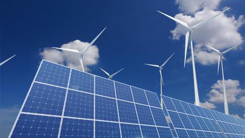 Solar Panel Wind Turbine B1CW HD Animation