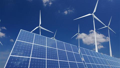 Solar Panel Wind Turbine B1CW HD Stock Video Footage