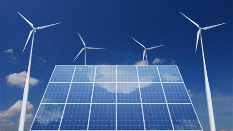 Solar Panel Wind Turbine C1CW HD Stock Video Footage