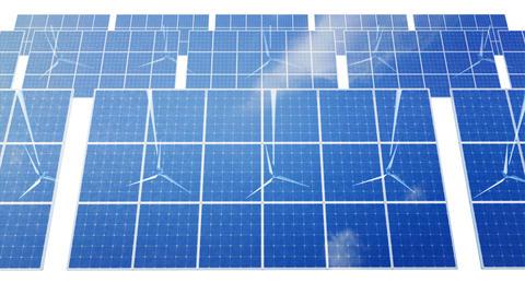 Solar Panel Wind Turbine D1CW HD Stock Video Footage
