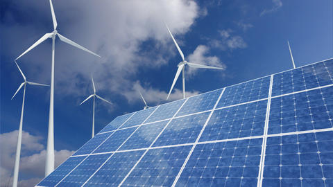 Solar Panel Wind Turbine G1CW HD Stock Video Footage