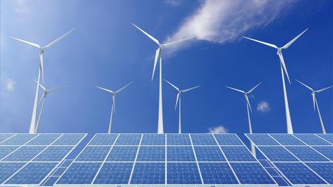 Solar Panel Wind Turbine H1CW HD Animation