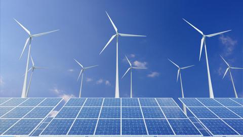 Solar Panel Wind Turbine H1CW HD Stock Video Footage