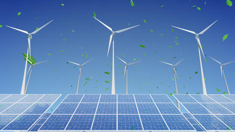 Solar Panel Wind Turbine H1WG HD Animation