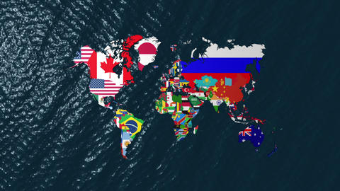 3D Wide World With Flags on Sea Slow Zoom Stock Video Footage