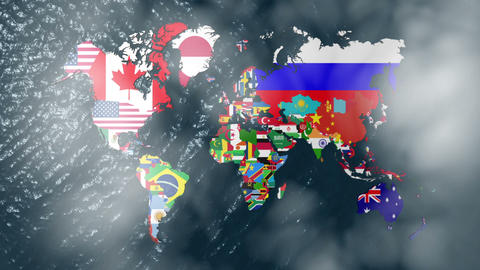 3D Flag World with a Slow Zoom to India With Clouds Stock Video Footage