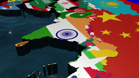 3D Flag World with a Slow Zoom to India With Clouds Animation