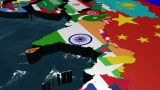3D Flag World With A Slow Zoom To India With Clouds stock footage