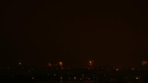 Time-lapse of New-Year switch fireworks over the city 1 Stock Video Footage