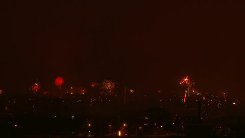 Time-lapse of New-Year switch fireworks over the city 3 Footage