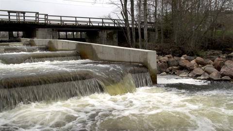 A fish ladder with rushing water Footage
