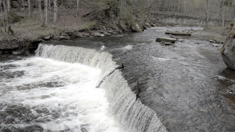The rushing of water on the river Footage