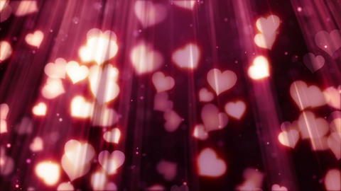 heart shapes flying in light rays loopable backgro, Stock Animation
