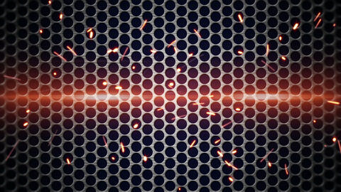 metal mesh and sparks loopable background Animation