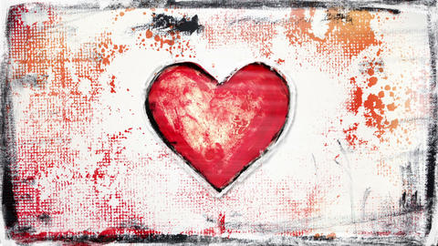 grunge painted heart shape glitch loop, Stock Animation