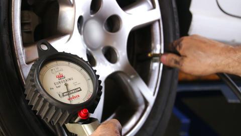 Car Repair Tire Wheel Pressure Footage