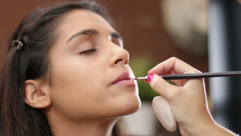 Face Makeup Making Lips Brush stock footage