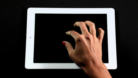 Tablet Computer Touch Screen Finger Gestures Full Live Action