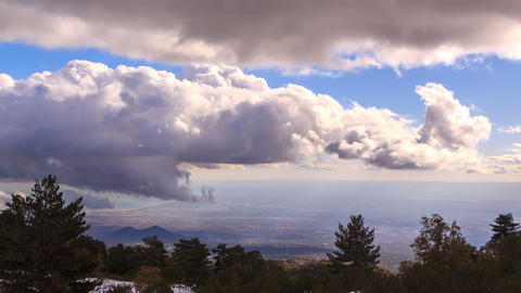 Clouds, view from the slopes of Etna. Sicily, Ital Footage