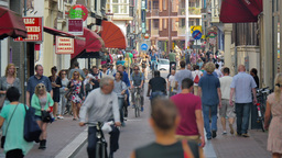 4K Slow Motion Crowded Street In Amsterdam stock footage