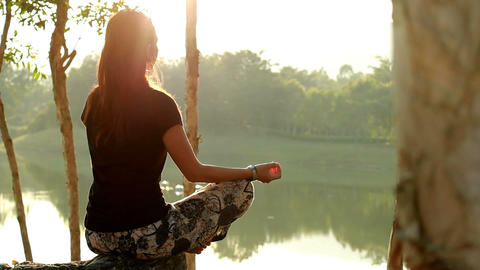 Sunset Meditation stock footage