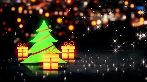Christmas Tree Gift 3D Shine City Bokeh Background Animation