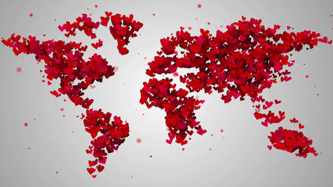 World Map Love Shape Particles Looping Animation - Animation
