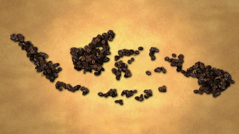 Indonesia map Coffee Bean on Old Paper Stop Motion Animation
