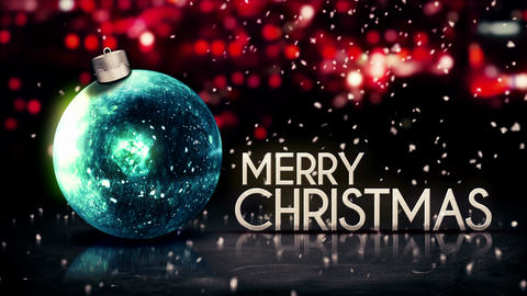 Blue Silver Merry Christmas Bokeh Beautiful 3D Red Animation