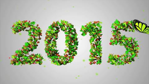 2015 New Year Leaves Particles Looping Animation - Animation